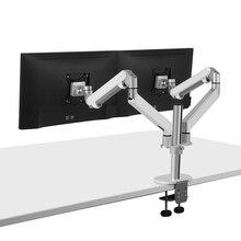 Hyvarwey Φ Настольный держатель для монитора 17 32 дюйма с двойным монитором, алюминиевый держатель монитора с полным движением, нагрузка на газовую пружину 2 8 кг каждый