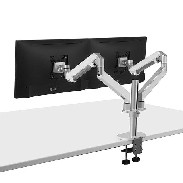 Hyvarwey OL 2Z pulpit 17 32 calowy podwójny Monitor ramię montażowe pełnoekranowy aluminiowy uchwyt monitora sprężyna gazowa ramię obciążenie 2 8kg każdy