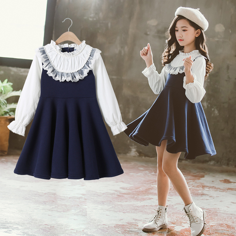 Back To School 2019 New Girls Clothing Dress Baby Casual Dress Kids Patchwork Fall Clothes Children Long Sleeve Dress Blue White 4