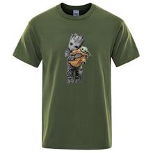 Cartoon Groot And Baby Yoda Men T Shirt