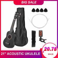 "21"" Ukulele Set Basswood Colored Acoustic Soprano Ukulele Guitar Musical Instrument for beginners With Tuner+String+Strap+Bag"