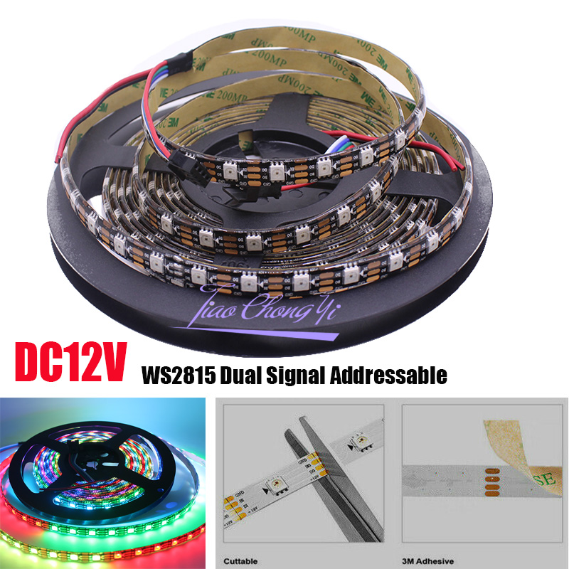 <font><b>WS2815</b></font> 12V 5M 300LED s Pixels (WS2812B) RGB couleur <font><b>LED</b></font> Pixels bande lumineuse double Signal adressable individuellement IP65 image