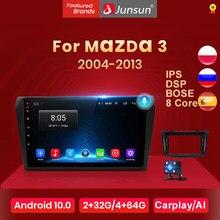 Junsun V1 Android 10.0 Ai Voice 4G DSP RDS Radio Coche con Pantalla para Mazda 3 bk 2004 2005 2006 2007 2008 2009 2010 2011 2012 2013 con funciones GPS de Navegación, Mandos de Volante No es Autoradio de 2 DIN