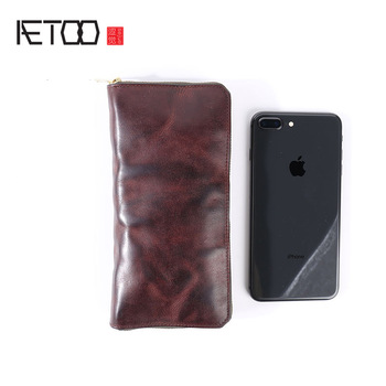AETOO Hand-planted leather long wallet, do old vintage leather men's hand bag, large-capacity wallet
