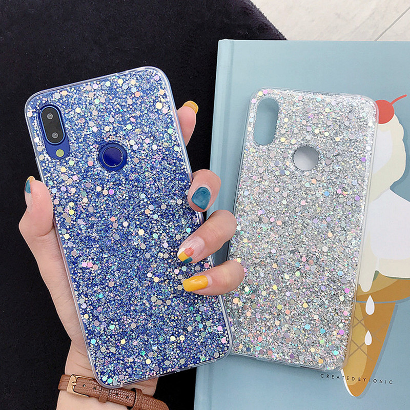 Luxury Silicone Bling Glitter Crystal Sequins Phone Case For Xiaomi 8 9 SE LITE Redmi 5 Plus 6 Note 7 6 5 Pro Soft Bling Cover 2