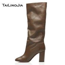 Женские сапоги из искусственной кожи; Сапоги выше колена на массивном каблуке; пикантная Женская качественная Брендовая обувь; Новое поступление года; сезон зима