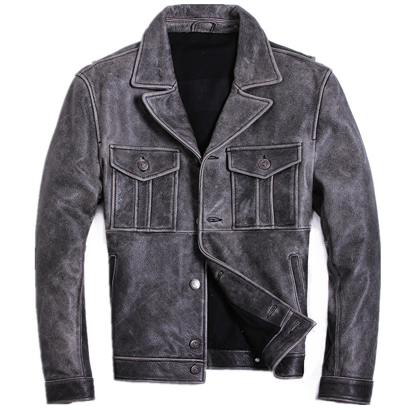 2020 Vintage Grey Men Double Pockets American Style Jacket Large Size XXXL Genuine Cowhide Autumn Slim Fit Leather Coat