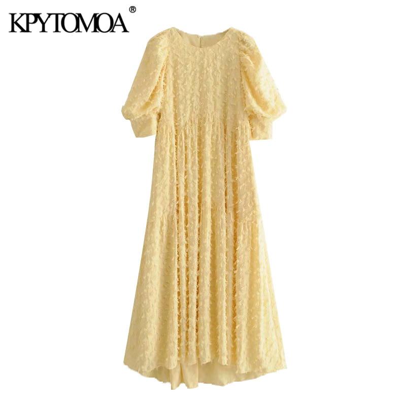 KPYTOMOA Women 2020 Elegant Fashion Textured Midi Dress Vintage O Neck Short Puff Sleeve Female Dresses Chic Vestidos Mujer