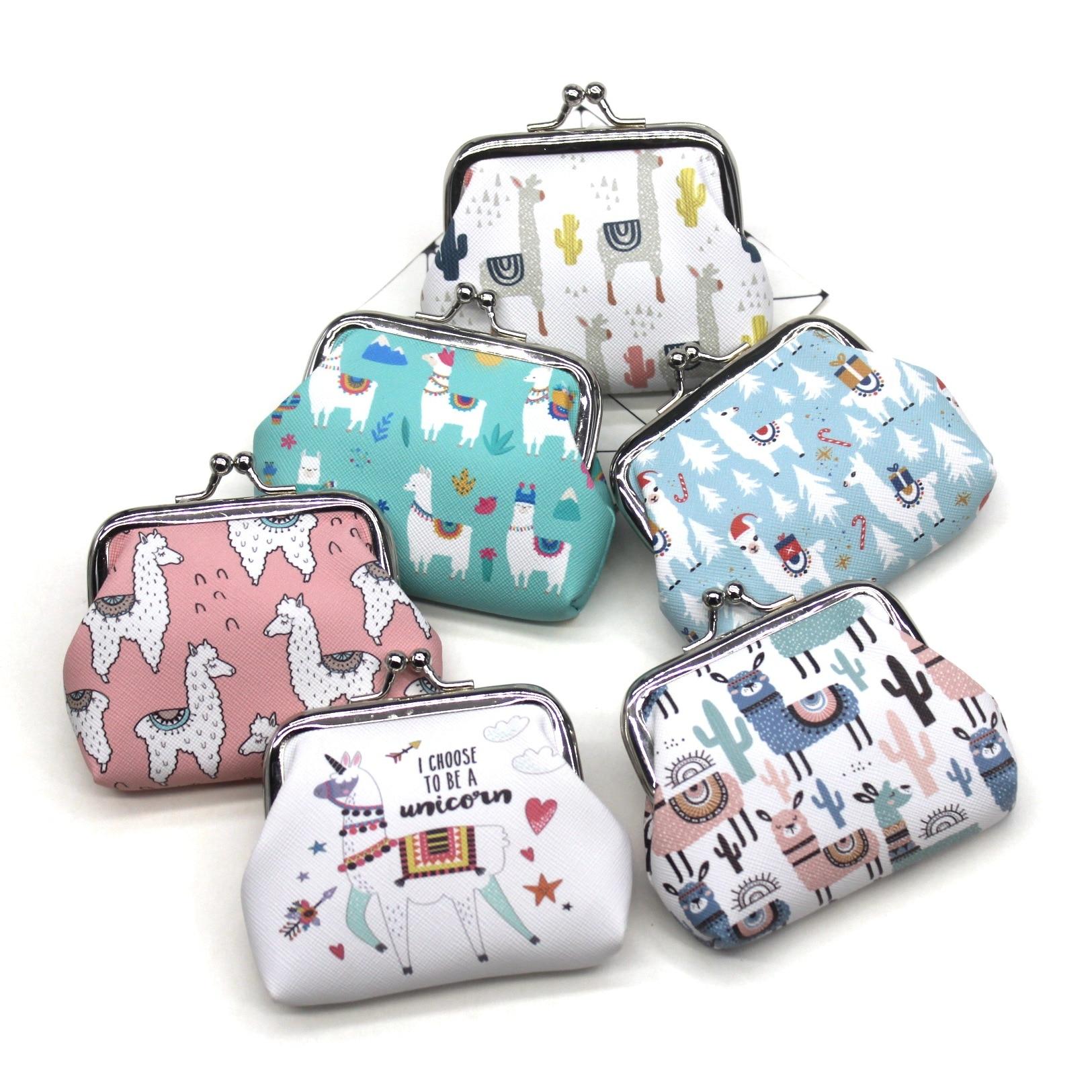 Cartoon Alpaca Animals Womens Mini Wallets Cute Kids Coin Purses Ladies Hasp Money Bags Girls Change Purse Female Children Pouch