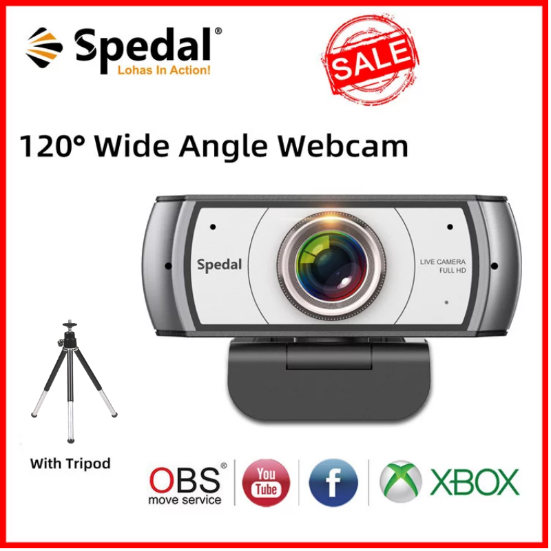 Spedal C920 Pro 120° Wide Angle Webcam Full HD 1080P with Tripod USB Web Camera Video Conference For Computer Mac PC Metting
