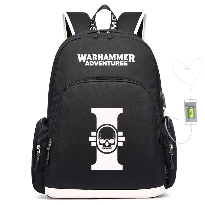 Warhammer USB Backpack Night Light School Bag Travel Bag Foreign Trade For A Generation Of Fat Wholesale Customized
