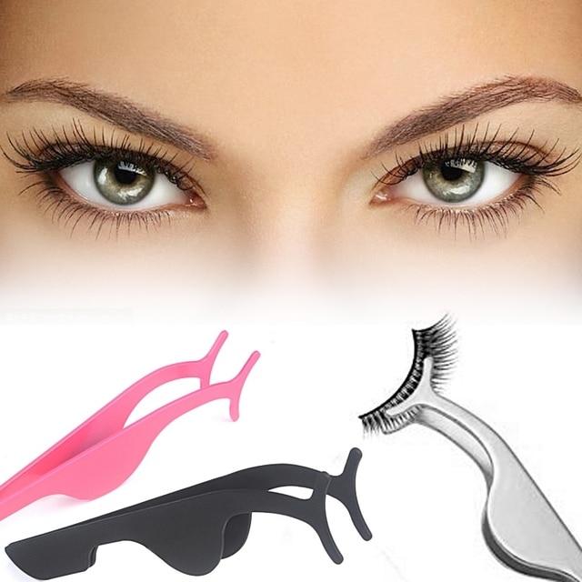 Hot False Eyelash Tweezers Fake Eye Lash Applicator Eyelash Extension Curler Nipper Auxiliary Clip Clamp Makeup Forceps Tools 1