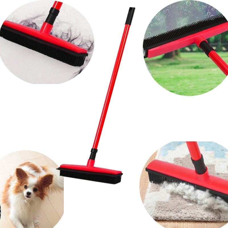 Floor Hair Broom Dust Scraper  & Pet Rubber Brush Carpet  Cleaner Sweeper No Hand Wash Mop Clean Wipe Window Tool