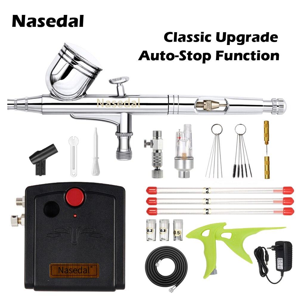Nasedal Auto-Stop Compressor Airbrush Kit 0 3mm Dual-Action Airbrush Spary Gun for Cake Decor Nail Art Model Car Painting NT-66B
