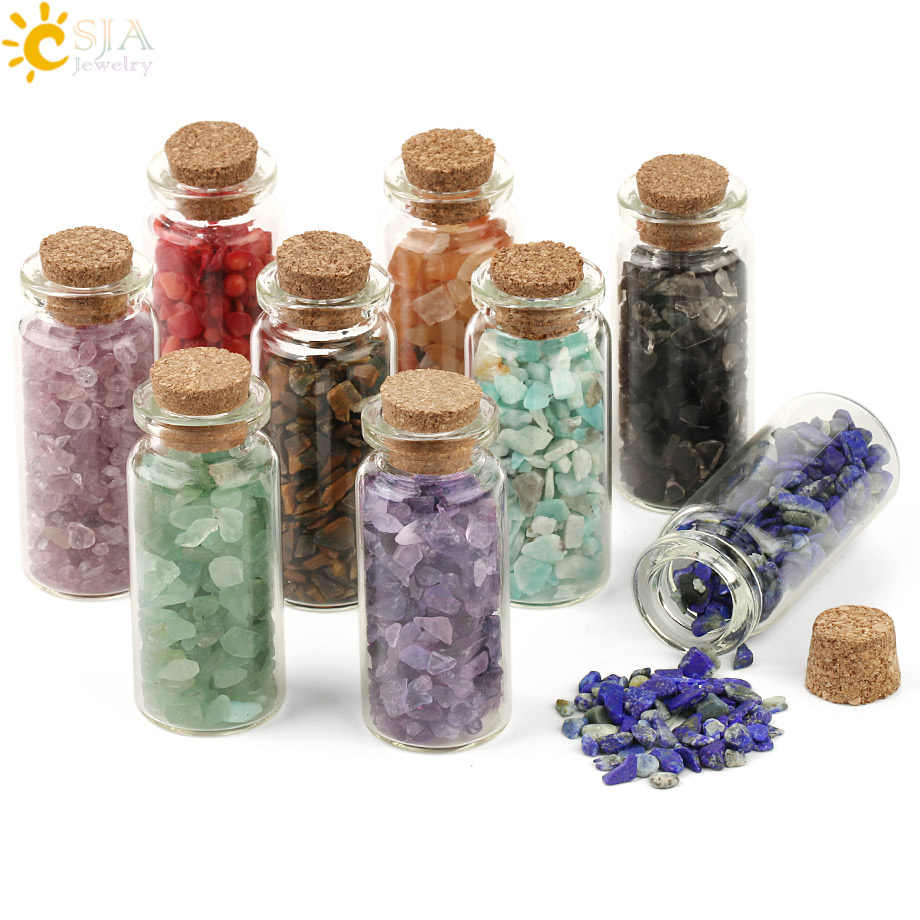 CSJA 52x21mm Mini Glass Wishing Bottles Natural Chip Stones Healing Crystal Decoration Lucky Drifting Bottle Birthday Gifts G218