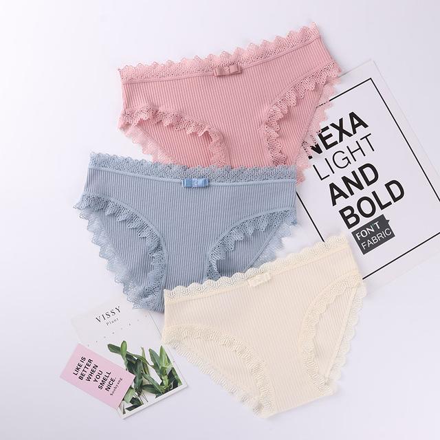 3PCS Women's Cotton Panties Female Lace Edge Breathable Briefs Sexy Underwear Women Cotton Crotch Lingerie Intimates
