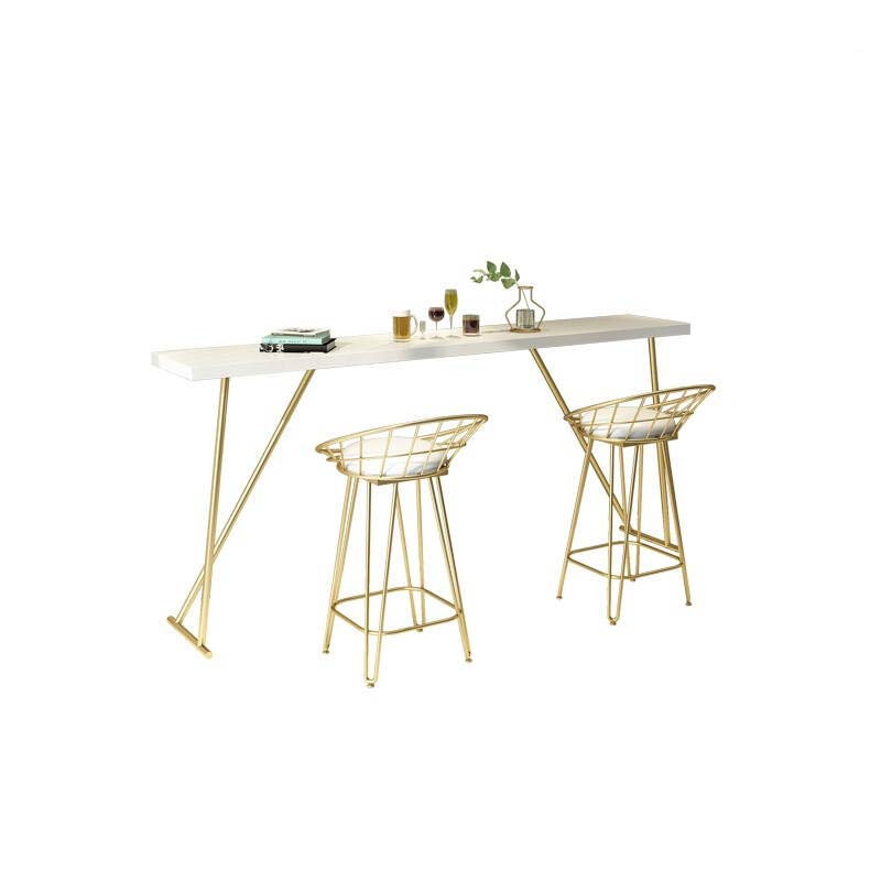 Bar Table Household Simple Modern Solid Wood   And Chair Agains