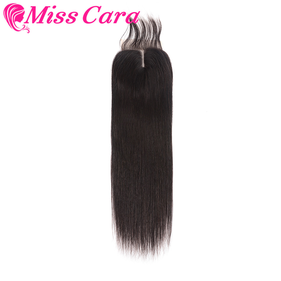 Peruvian Straight Lace Closure 4*4 Middle Part 10-20inch Natural Black Remy Human Hair Closure Free Shipping Miss Cara Hair