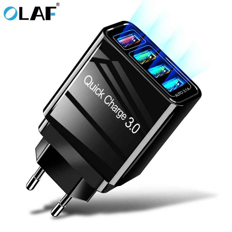 Olaf Cepat Biaya 3.0 Charger USB EU/US/UK Plug Dinding Ponsel Ponsel Cepat untuk iPhone 7 XS Samsung S8 4 Port Adaptor QC 3.0