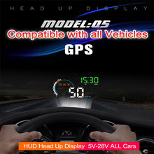Universal Car GPS HUD Head Up Display OBD2 GPS Car-styling Speed RPM Fuel Consumptions Dashboard Windscreen Projector OBD HUD цена и фото