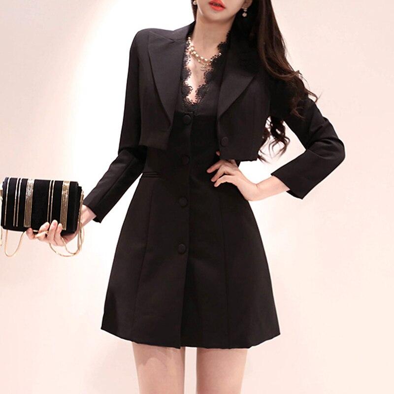 Nouveauté femmes tempérament OL 2 pièces ensemble dentelle col en v mini robe de base confortable veste courte style de travail mode femmes ensemble