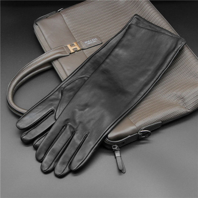 Free delivery 2020 winter men's fashion sheepskin leather gloves mobile phone touch screen extended style arm cover
