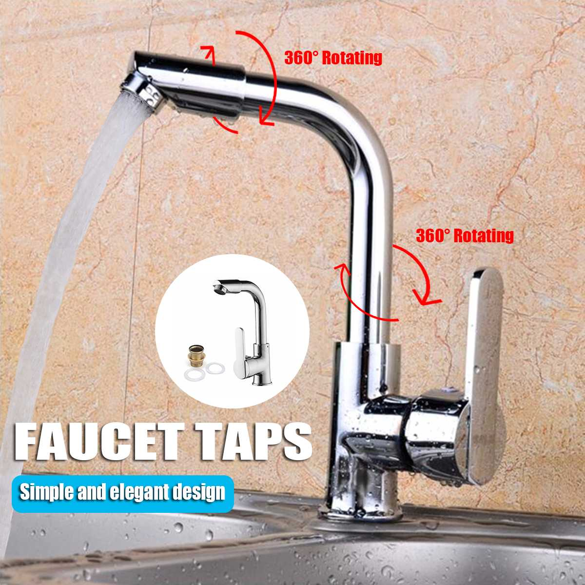 Becornce 1 PC Chrome Kitchen Faucet Single Hole Roatation Rotating Handle Cold And Hot Water For Kitchen And Bathroom Basin