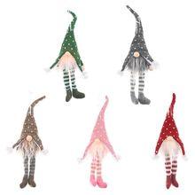 Christmas Swedish Gnome Santa Long Leg Hat Doll Ornaments with LED Light Hanging L4MB
