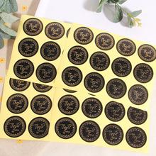 120pcs Round sticker black bottom bronzing word love ring Thank you sealing sticker Self-adhesive Packaging Lable