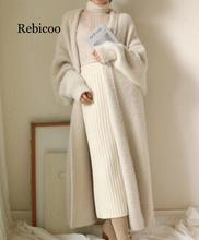 Synthetic Mink Cashmere Sweater Cardigan Women Korean Winter Coat Batwing Sleeve Knitted Long Cardigan Thick Plus Size Sweaters synthetic mink cashmere sweater cardigan women korean winter coat batwing sleeve knitted long cardigan thick plus size sweaters