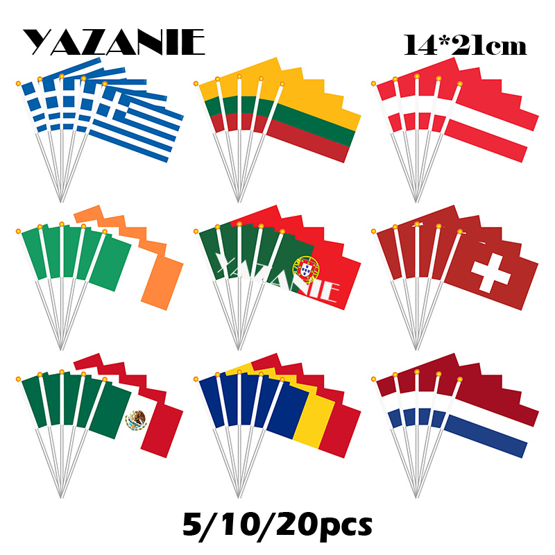 YAZANIE 14*21cm 5/10/20pcs Greece Lithuania Austria Ireland Portugal Switzerland Mexico Romania Israel Netherland Hand Flag(China)