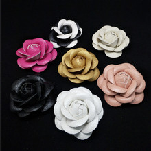 Charm Classic Genuine Leather  Pin Brooch Quality PU Camellia Flower Women Suit Sweater Shirt