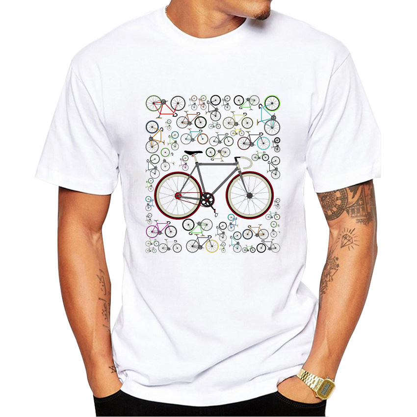 Men's Funny Love Fixie Road Bikes Printed T Shirt Bicycle Lovers Design Boy T-Shirt Summer Humor Men Tops Novelty O-neck Tees