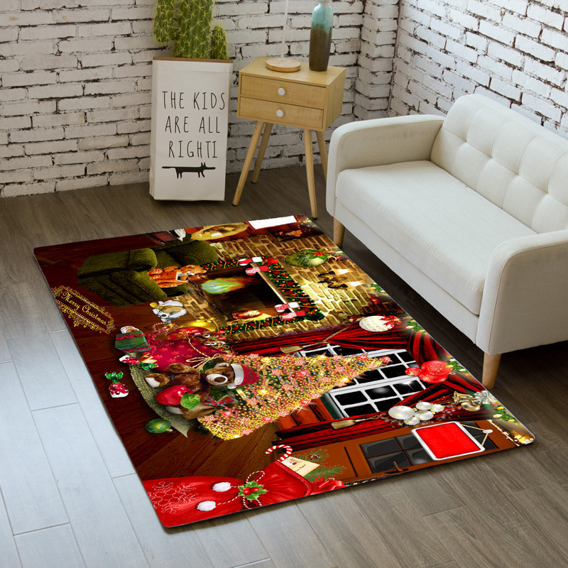Merry Christmas Rug Carpet Cartoon Bedroom Kids Play Mat Soft Flannel Santa Tree Gifts Area Rugs Bedside Carpets for Living Room|Carpet| |  - title=