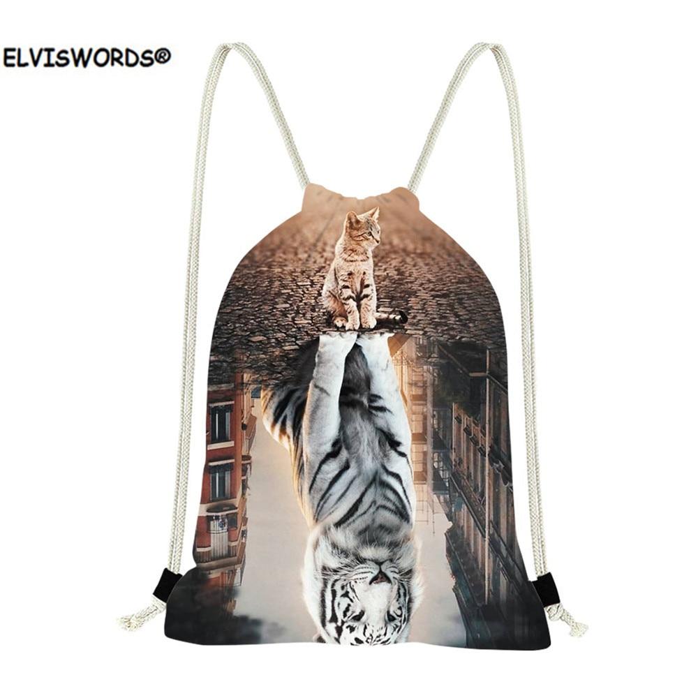 ELVISWORDS Cat Reflection Tiger 3D Printing Drawstring Bags Kids Casual Canvas String Mochila Schoolbag Children Backpack Pocket