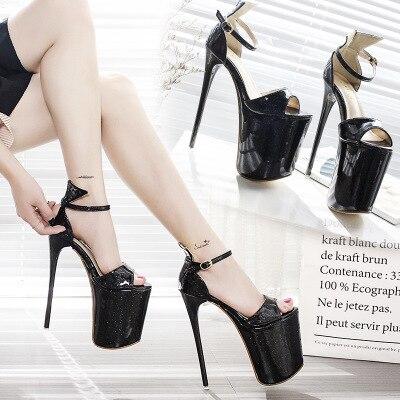 HOT Drag Queen Women Sandals High Heel 19.5CM  Wedding Shoes Platform Concise Nightclub Steel Pipe Dance Ladies Shoes Size 34-43