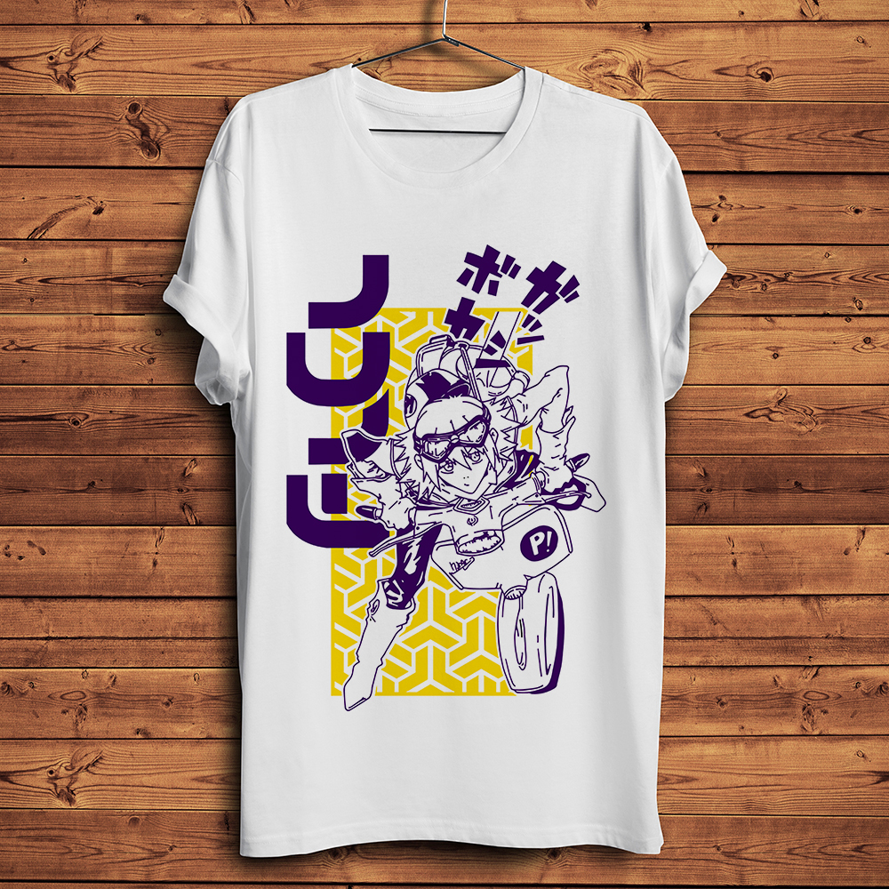JAPAN Anime Fooly Cooly FLCL Funny T Shirt Men New White Casual Short Sleeve Tshirt Homme Manga Unisex Streetwear T-shirt