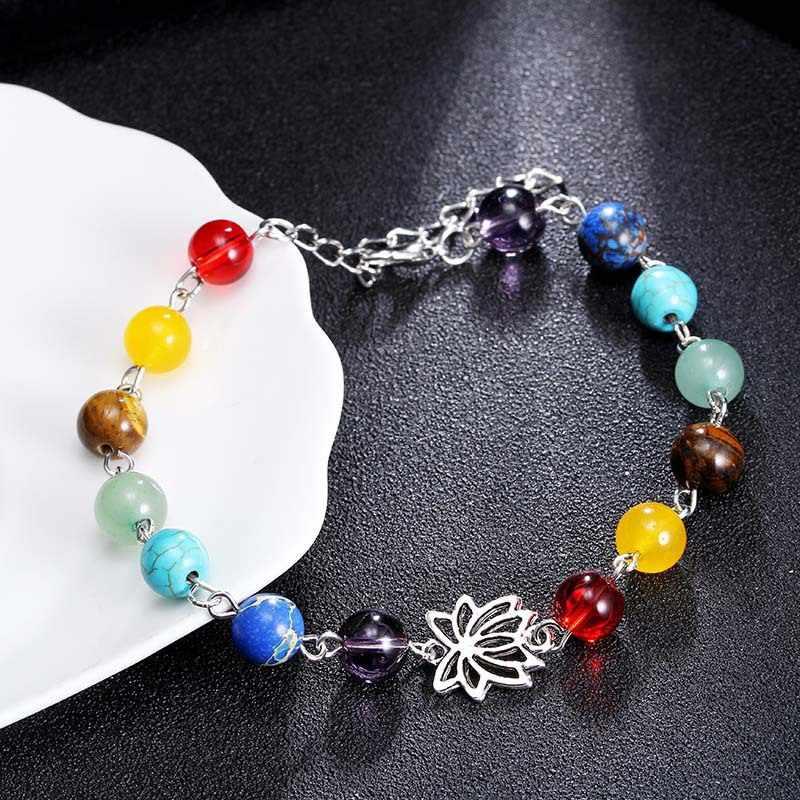 סיטונאי גברים נשים 7 צ 'אקרה צמידי ריפוי גבישי Agates אבן חרוזים ואגלי צ' אקרה להתפלל לב קסם צמיד תכשיטים