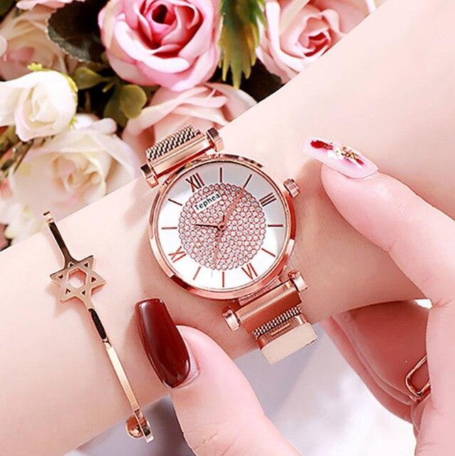 Women Magnetic Buckle Watch 2019 Luxury Brand Diamond Women Bracelet Wrist Watch For Ladies Wrist Watch Female Relogio Feminino