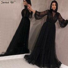 Черный персик жемчуг пляж тюлевые вечерние платья новейшие разработки одежда с длинным рукавом сексуальное вечернее платье Serene Hill LA60835