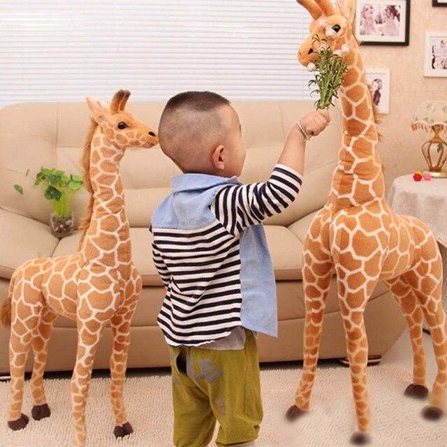 Jirafa de peluche con forma de animales para niños, muñeco de felpa con forma de jirafa, realista, simulación de ciervo, regalo de Navidad