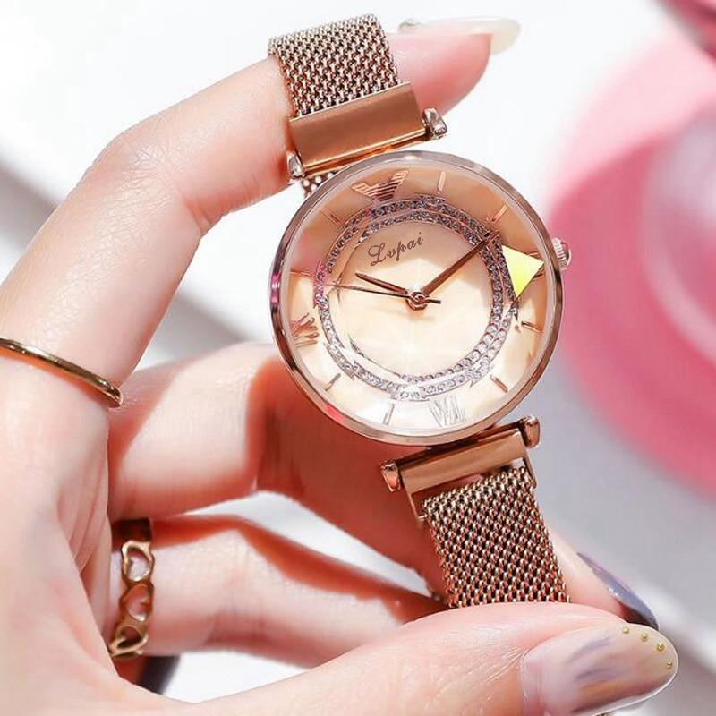 Fashion Diamond Watch Women Rose Gold Magnet Clock For Girls Luxury Bracelet Gem Cut Flower Mirror Relogio Feminino Rhinestone