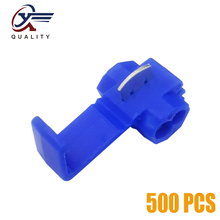 цена на 500Pcs Electrical Wire Cable Crimp Terminals Quick Splice Blue Electrical Cable Connectors Fast Lock Wire Terminals Crimp
