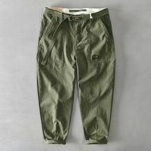 Z329 Men Cargo Pants Japan Style Vintage Sport Outdoor Simple Soft Casual Belt Cotton Solid Color Multi-Pocket Overalls Trousers