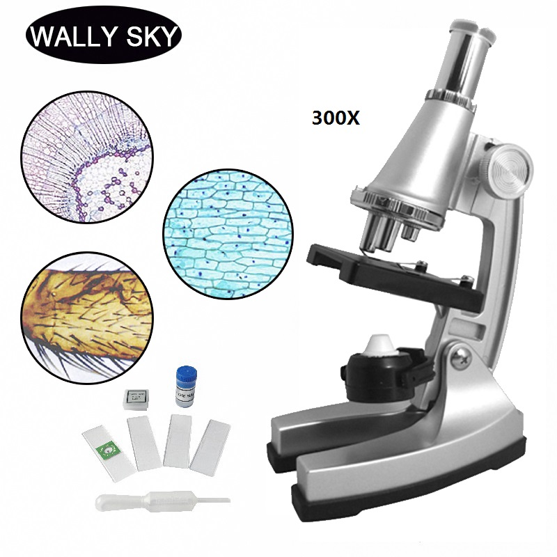 Monocular Microscope 300X Portable Educational Microscope For Children Kids Students Gift Toy Tool With LED + Reflecting Mirror