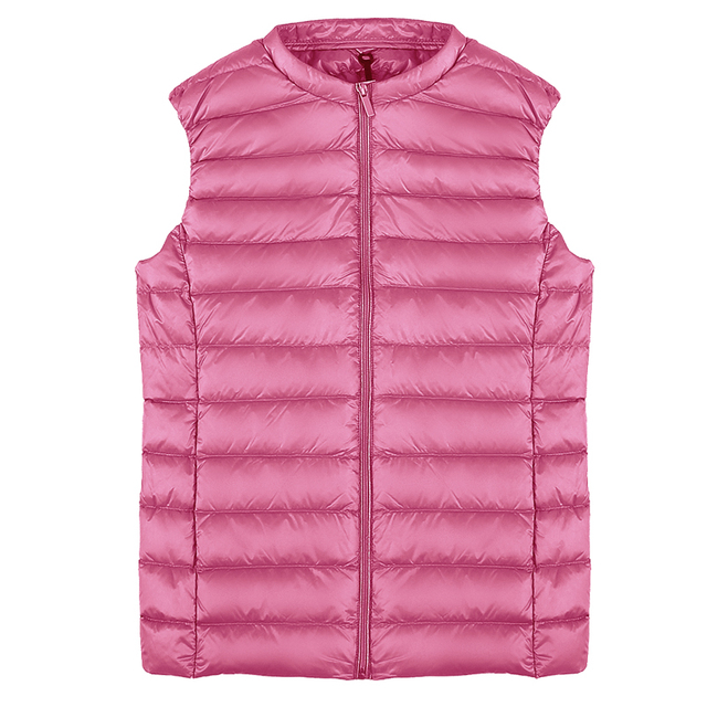 Fitaylor New Women 90% White Duck Down Vest Women Ultra Light Duck Down Vest Jacket Autumn Winter Round Collar Sleeveless Coat 6