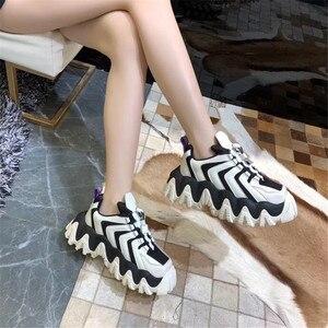 Image 5 - Prova Perfetto סניקרס נשים זגזג פלטפורמת אישה סניקרס חידוש פס צבע תערובת סניקרס עבה תחתון נעלי נקבה