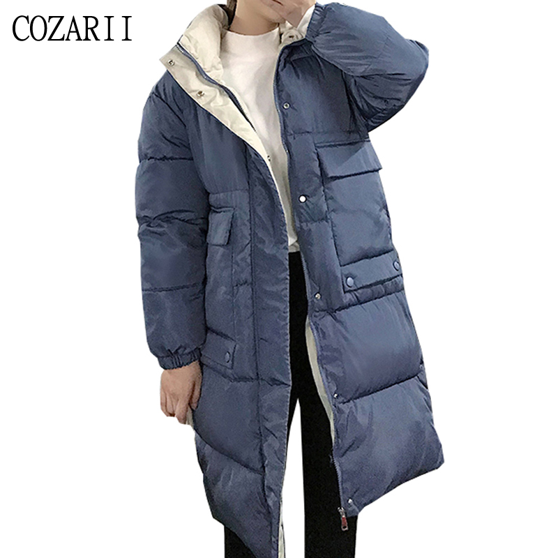 Hooded Ladies Coat Long Coats Parka oversize Colour jacket mid-long women winter thick down