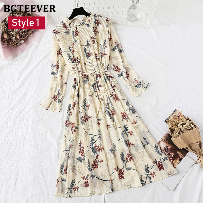 BGTEEVER Spring Stand Collar Floral Print Women Dress Lace Up Image