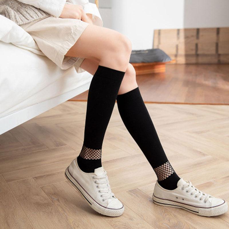 1 par de verão moda feminina joelho meias altas confortáveis meias de malha feminina